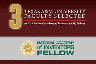 NAI selects three Texas A&M faculty members as 2020 fellows